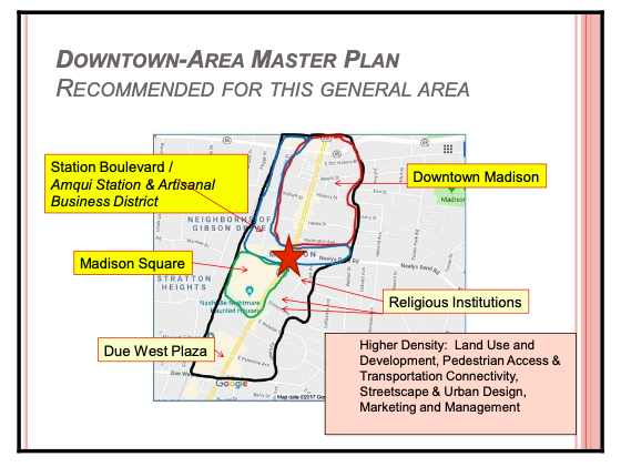 A map of the downtown area with areas mapped out