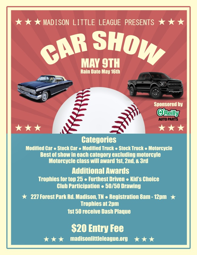 A poster for the car show with event details.