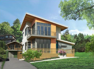Rendering of a single family home with modern architecture.