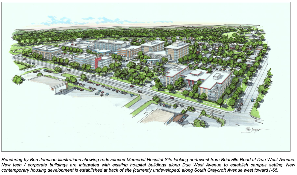 Rendering by Ben Johnson Illustrations showing redeveloped Memorial Hospital Site looking northwest from Briarville Road at Due West Avenue. New tech / corporate buildings are integrated with existing hospital buildings along Due West Avenue to establish campus setting. New contemporary housing development is established at back of site (currently undeveloped) along South Graycroft Avenue west toward I-65.