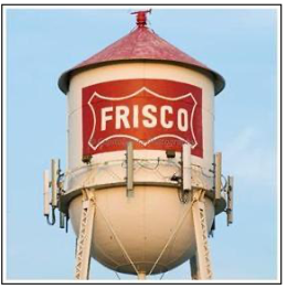 A water tower with the town name Frisco on it.