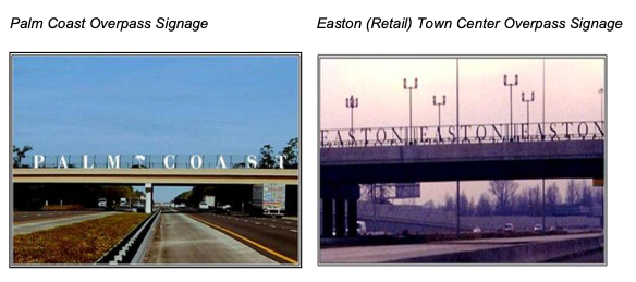 images of overhead passes with town names.