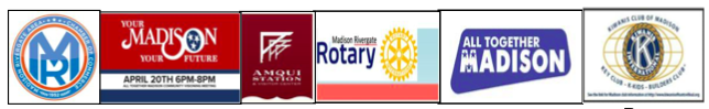 A row of Madison civic organization logos
