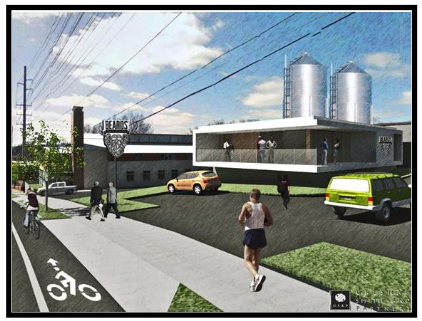 Illustration showing infill and existing building rehab for small production and tech office uses within the Railroad Industrial area. Rendering generated by Gresham Smith and Partners.