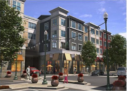 A rendering of an urban area with shops and apartments.