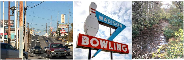 A series of images from Madison: a busy street, bowling sign, creek